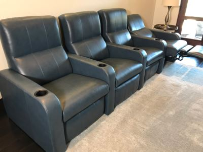 (4) Blue Leather Reclining Movie Theater Seats 124W X 36D X 42H (Retails $15,000 - Only 1 Year Old)