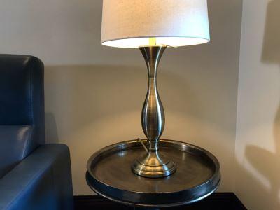 Silver Tone Metal Table Lamp 29H