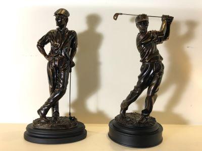 Pair Of Resin Golfer Sculptures 16H