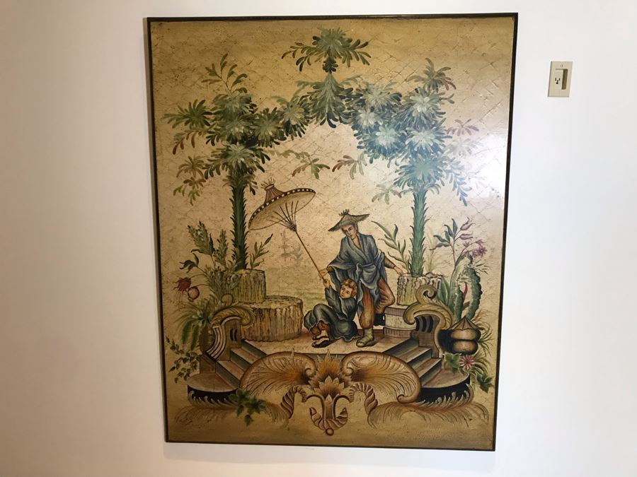 Large Asian Painting Print On Board 48W X 60H [Photo 1]