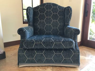 Oversized Custom Wingback Upholstered Armchair With Waterfall Skirt And Trim Fabric Harsey / Anatoyla 45W X 34D X 49H (Retails $3,700)