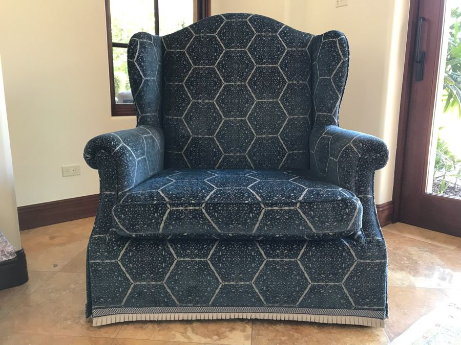 Oversized Custom Wingback Upholstered Armchair With Waterfall Skirt And Trim Fabric Harsey / Anatoyla 45W X 34D X 49H (Retails $3,700) [Photo 1]