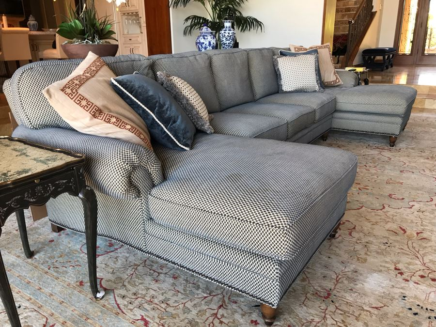 Kravet Furniture Sectional Sofa With Two Chaise Lounges, Brass Nailhead Trim And Six Throw Pillows - Spring Blend Down Seats 153W X 68D X 39H (Retails $17,000) [Photo 1]