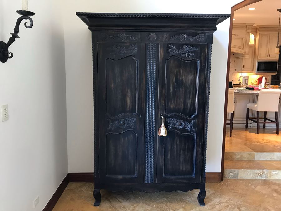 Carved Wooden Armoire Cabinet With Skeleton Key (No Screws Or Nails) By Marie Albert French & Country Furnishings New York 63W X 29.5D X 87.5H (Retails $5,000) [Photo 1]