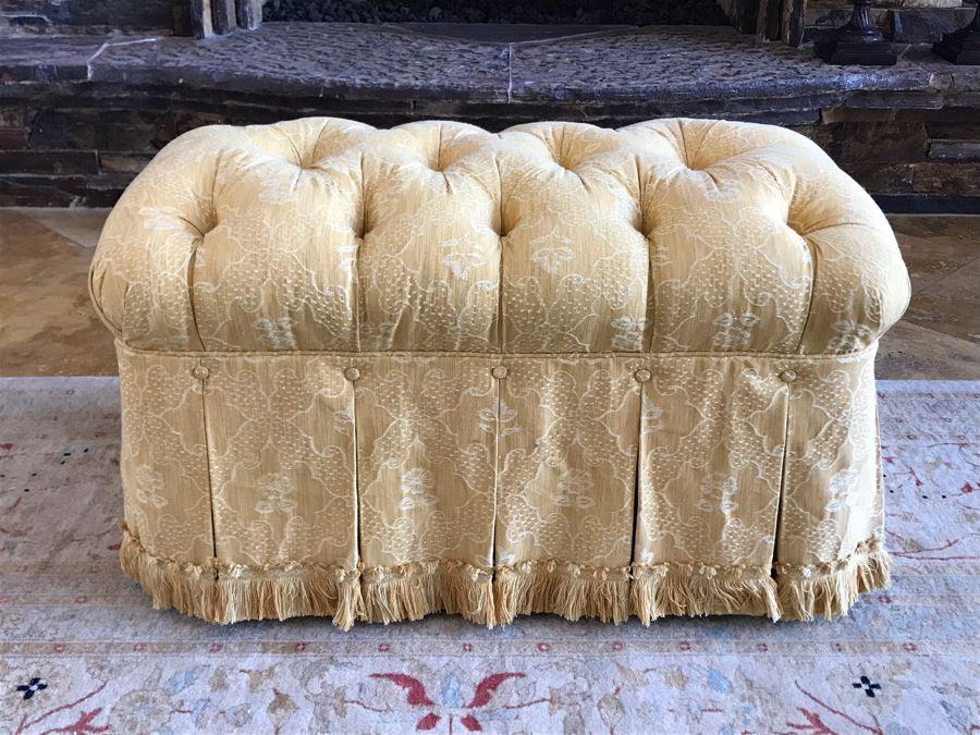 Custom Tufted Gold Ottoman 34W X 21D X 18H (Retails $1,500) [Photo 1]