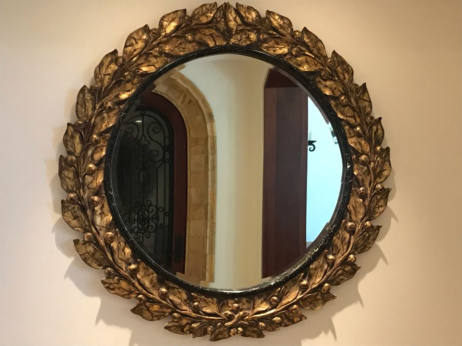 Large Round Gilded Mirror With Wreath Design (Has Slight Crack In Wood On Right - See Photos) Purchased In Boston Antique Store 48R (Retails $500) [Photo 1]