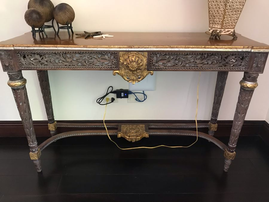 Carved Wooden Indian Console Table (Purchased At Boston Antique Store) (Retails $1,200) [Photo 1]