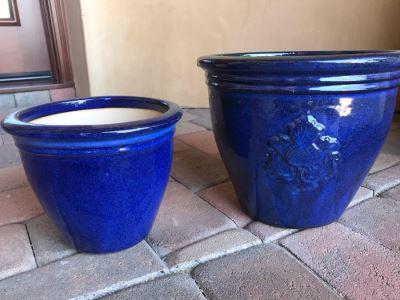 Pair Of Blue Glazed Pots 9W X 12W