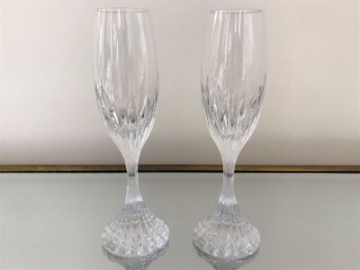 Pair Of Baccarat Crystal Champagne Flutes 8.5H