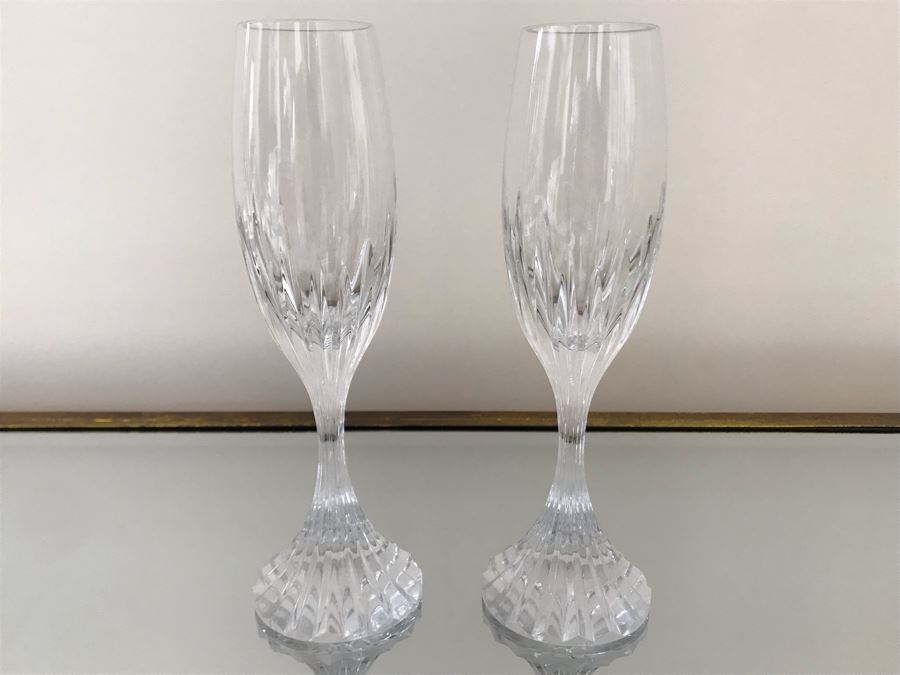 Pair Of Baccarat Crystal Champagne Flutes 8.5H [Photo 1]