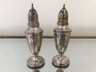 Sterling Silver Salt And Pepper Shakers 4.5H