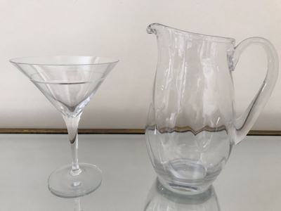 Glass Pitcher 9H And Martini Glass 7H