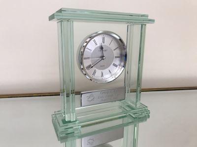 Danbury Glass Clock 9.5W X 3D X 10H