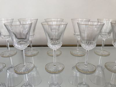 (10) Saint Louis Crystal Gold Rim Apollo Wine Glasses 7H Made In France (Oldest Glass Maker In France) (Retails $2,850)