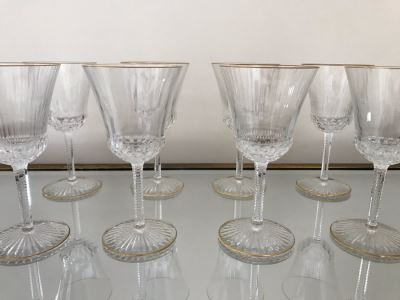 (8) Saint Louis Crystal Gold Rim Apollo Wine Glasses 6.25H Made In France (Oldest Glass Maker In France) (Retails $2,100)