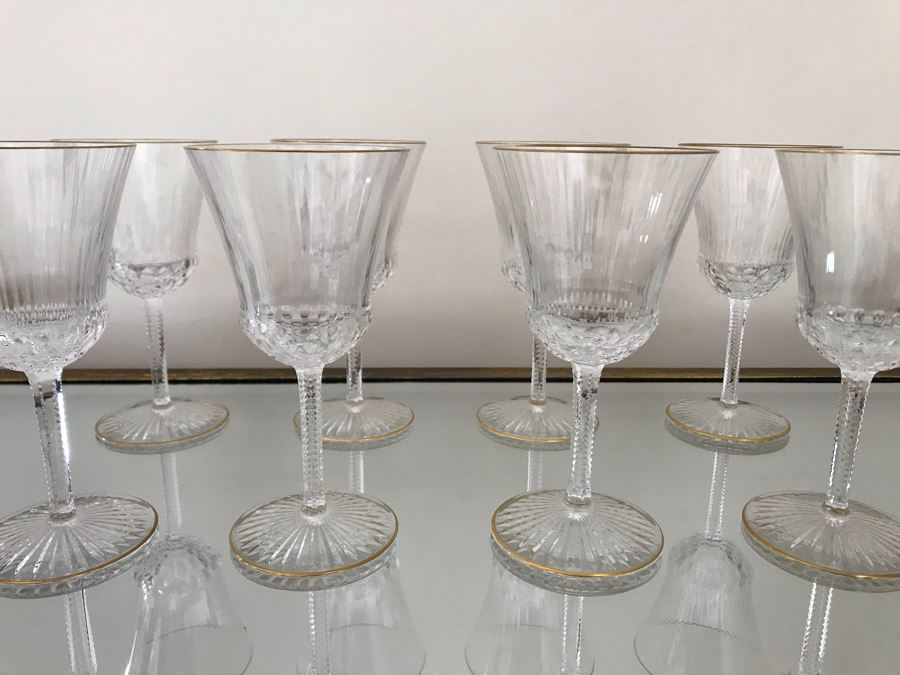 (8) Saint Louis Crystal Gold Rim Apollo Wine Glasses 6.25H Made In France (Oldest Glass Maker In France) (Retails $2,100) [Photo 1]