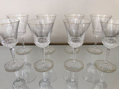 (8) Saint Louis Crystal Gold Rim Apollo Water Goblet Glasses 7.5H Made In France (Oldest Glass Maker In France) (Retails $2,400)