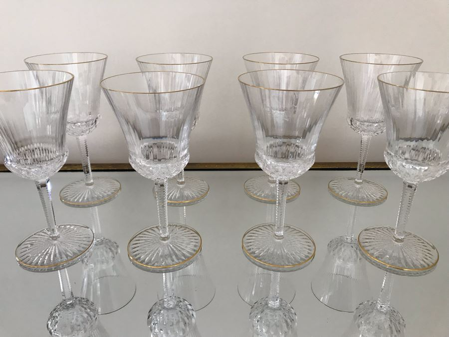 (8) Saint Louis Crystal Gold Rim Apollo Water Goblet Glasses 7.5H Made In France (Oldest Glass Maker In France) (Retails $2,400) [Photo 1]