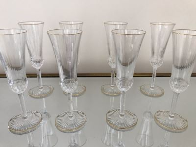 (8) Saint Louis Crystal Gold Rim Apollo Fluted Champagne Glasses 7.375H Made In France (Oldest Glass Maker In France) (Retails $2,200)