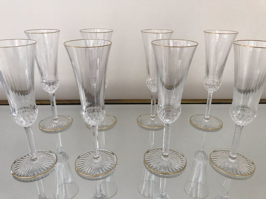 (8) Saint Louis Crystal Gold Rim Apollo Fluted Champagne Glasses 7.375H Made In France (Oldest Glass Maker In France) (Retails $2,200) [Photo 1]