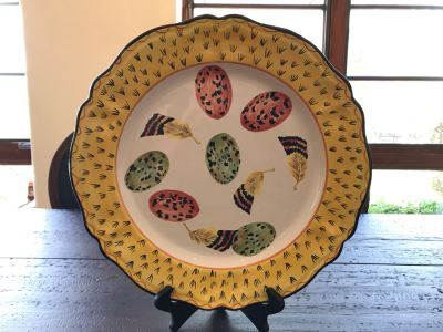 Large Hand Painted Italian Plate Signed Majilly Pottery 14.5R