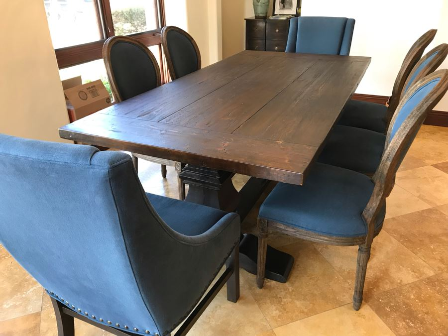 Restoration Hardware Dining Table 42W X 84L With (2) Leaves 18L And (5) Restoration Hardware Dining Chairs And (2) Restoration Hardware Armchairs Retails $7,500 [Photo 1]