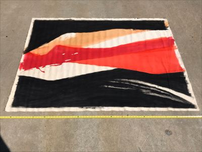 Large Abstract Canvas Painting Unsigned By Jean Klafs 6' X 54'