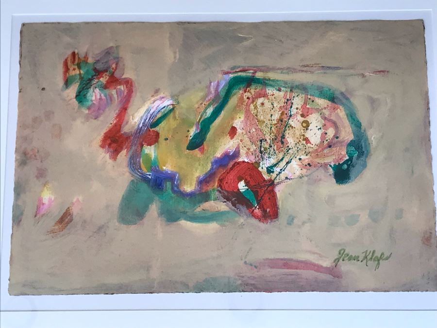 Original Jean Klafs Abstract Expressionist Painting On Paper 23 X 15 / Frame: 29 X 22 [Photo 1]