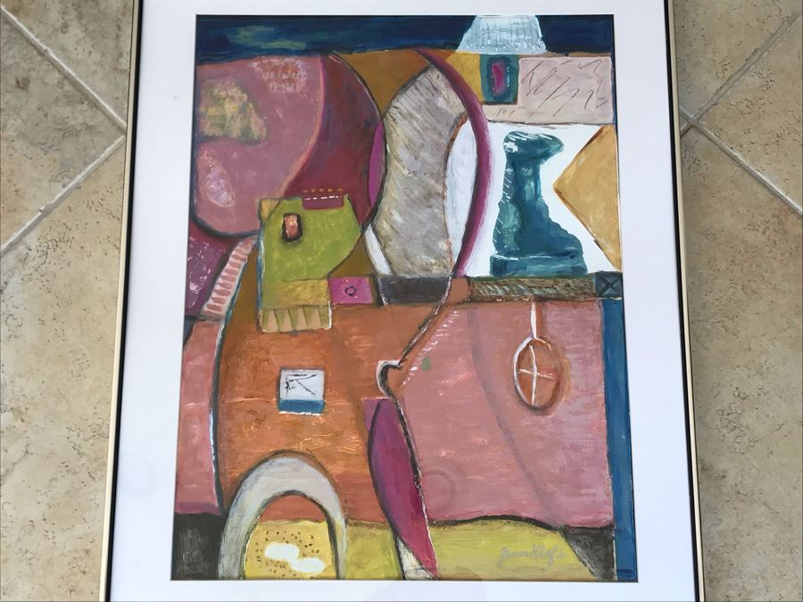 Original Jean Klafs Abstract Expressionist Framed Painting On Paper Titled 'All About Color' 30 X 24 [Photo 1]