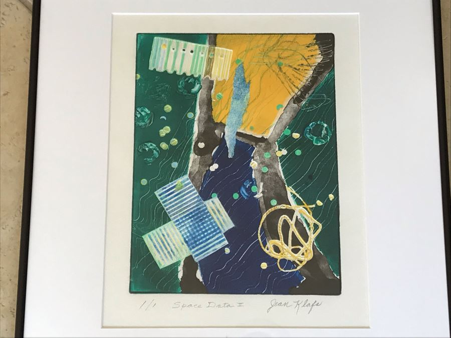 Jean Klafs Monotype Framed Print Titled 'Space Data II' 1 Of 1 - 21 X 18 [Photo 1]