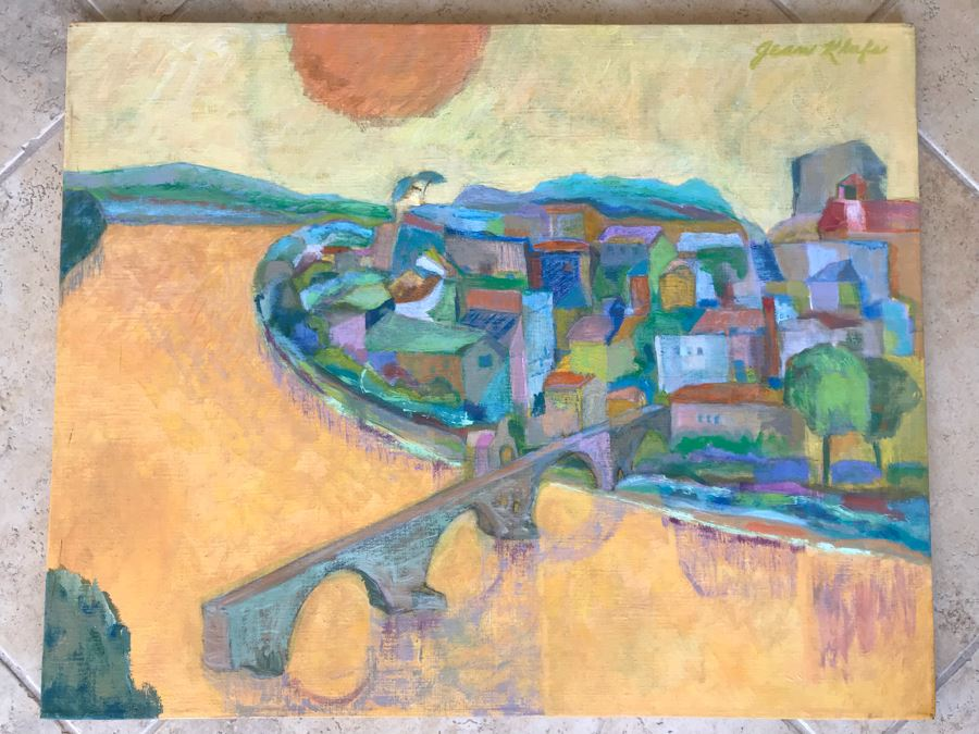 Original Jean Klafs Abstract Expressionist Painting On Canvas Titled 'Benezet Bridge Avignon' In France 30 X 24 [Photo 1]