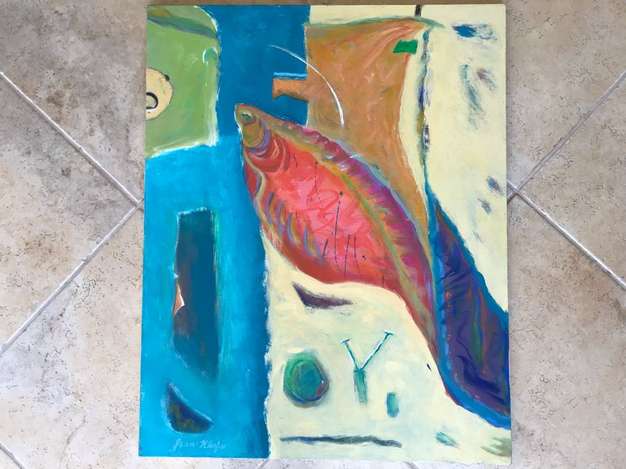 Original Jean Klafs Abstract Expressionist Painting On Canvas 24 X 30 [Photo 1]