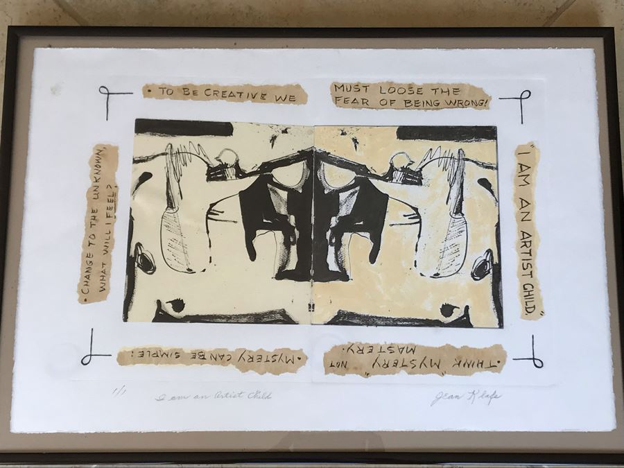 Jean Klafs Monotype Framed Print Titled 'I Am An Artist Child' 1 Of 1 - 18 X 24 [Photo 1]
