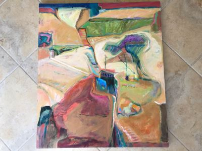 Original Jean Klafs Abstract Expressionist Painting On Canvas Titled 'Yangtze Experience IV' 42 X 36