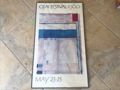 Richard Diebenkorn Rare Hand Signed Limited Edition Ojai Festival 1980 Framed Poster 26 Of 100 - 21 X 36 - Estimate $7,000