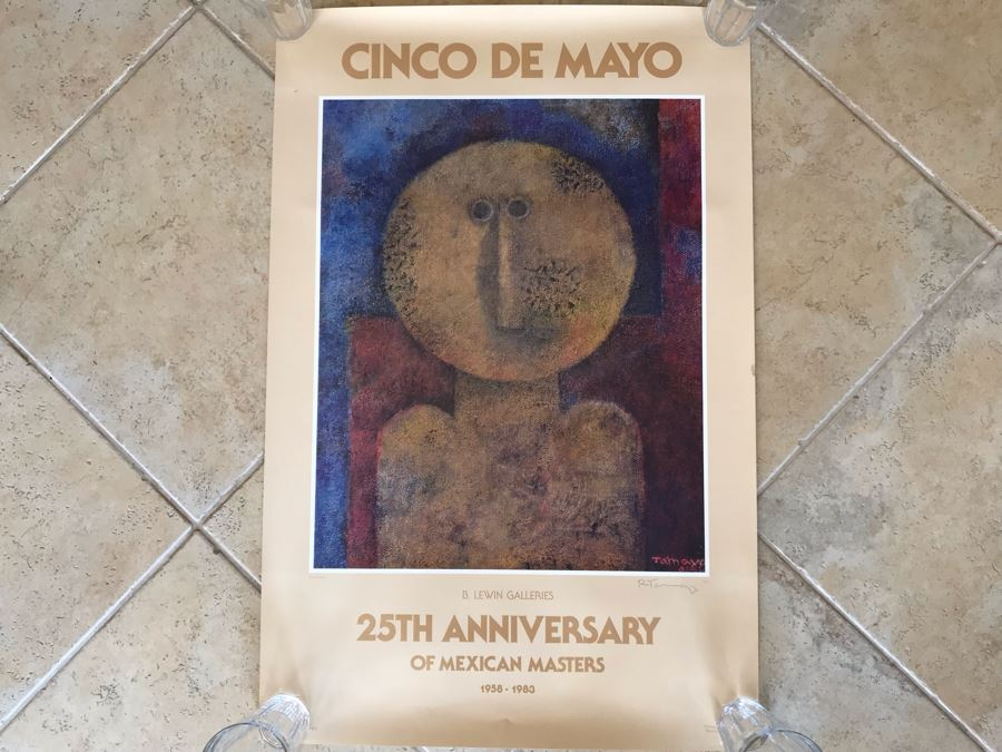 Hand Signed Rufino Tamayo Poster Titled 'Cinco De Mayo' 25th Anniversary Of Mexican Masters B. Lewin Galleries 1958-1983 23 X 35 [Photo 1]