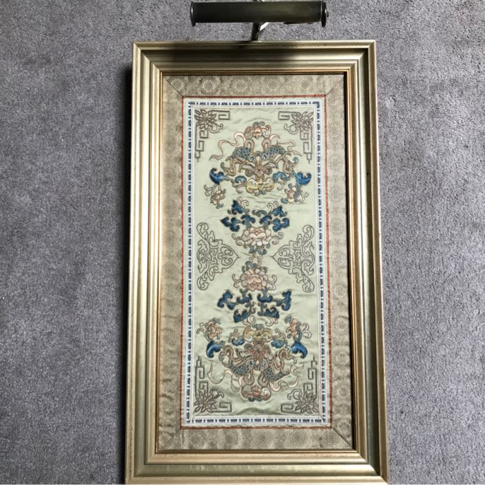 Framed Chinese Silk Embroidery With Overhead Lighting 15 X 27 [Photo 1]