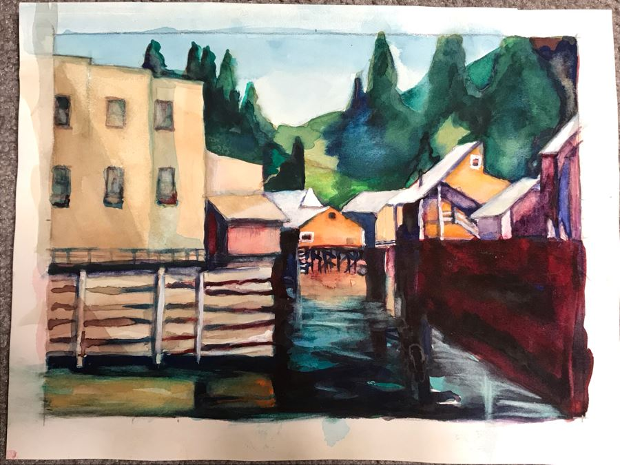 Original Unsigned Watercolor Painting On Paper 11 X 8 [Photo 1]