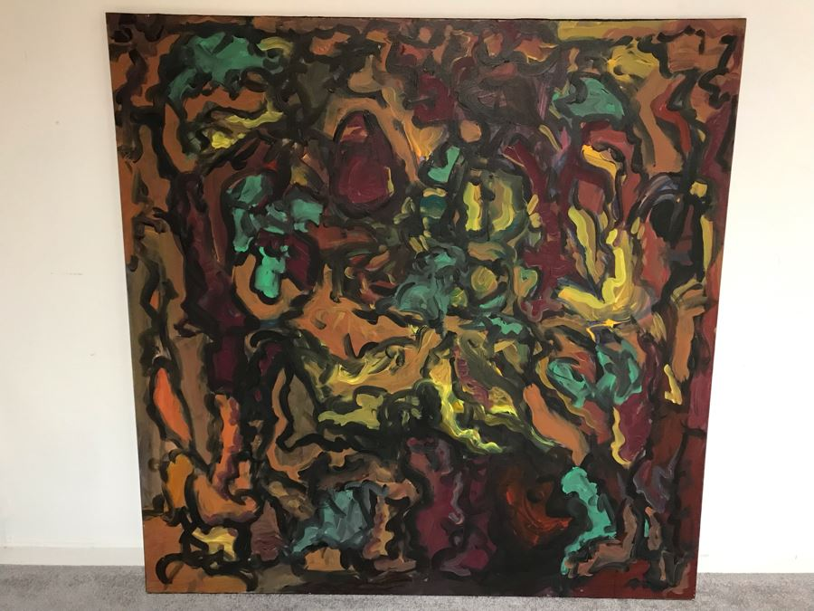 Original Abstract Painting Signed On Back Silvia + Wolfgang Klus / Kuttigen 47 X 47 [Photo 1]
