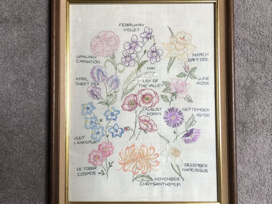 Framed Embroidery Of Annual Blooming Of Flowers By Month 14 X 18 [Photo 1]