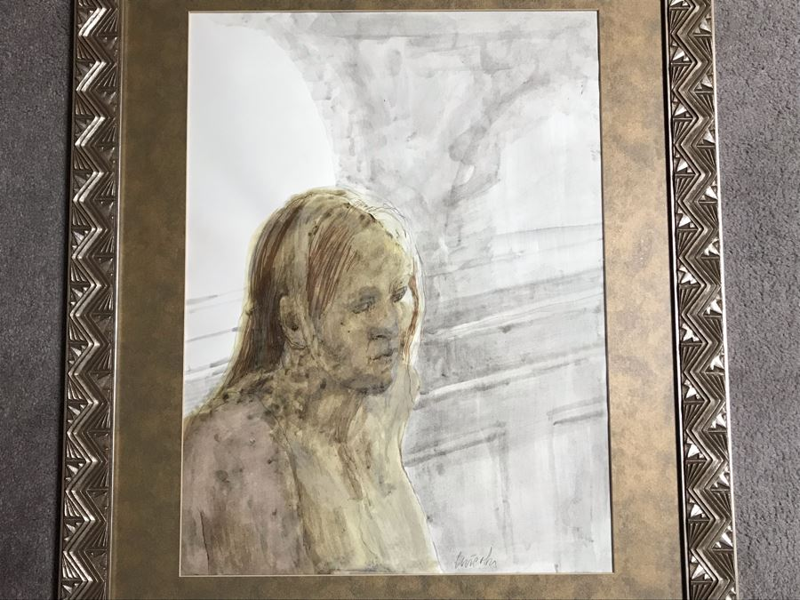 John Lincoln (1933-2009) Original Framed Painting On Paper (Attended Chouinard Art Institute In LA) 17 X 23 [Photo 1]