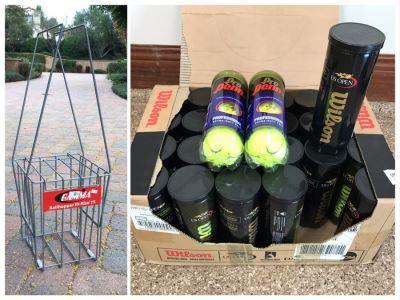Wilson US Open Tennis Balls 24 Cans Plus 2 Cans Of Pro Penn Tennis Balls And Metal Ballhopper