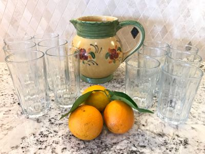 Handmade French Pitcher 8H And (12) Glasses  (Oranges Not Included)