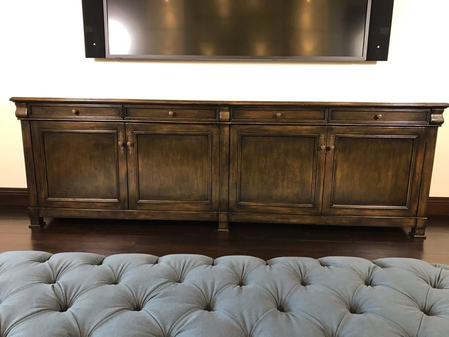Stunning Custom Long Wooden Credenza Media Cabinet 9'4'W X 20D X 36H Paid $3,900 [Photo 1]