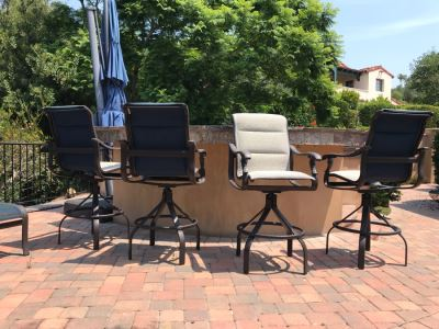 Set Of (4) Tropitone Kd Garden Terrace Cast Aluminum Padded Sling Back Bar Stools (No Swivel) 25W X 25D X 51H (Seat Is 31H) With Covers Retails $3,300