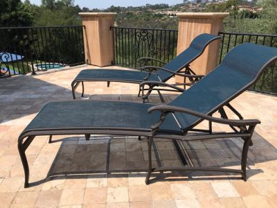 Pair Of Tropitone Kd Garden Terrace Cast Aluminum Sling Back Chaise Loungers With Covers Retails $1,700