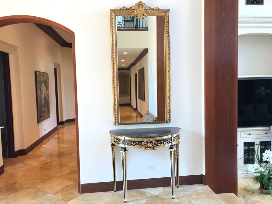 Stunning Antique Marble Top Gilded Demilune Entry Console Table With Gilded Full Length Wall Mirror - Table: 43W X 22D X 38H, Mirror: 36W X 72H Purchase For $5,400 [Photo 1]
