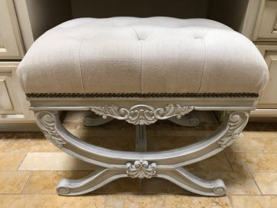 Pair Of Frontgate Tufted Vanity Bench Seats
