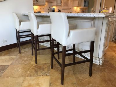 Set Of (3) Ivory Leather Barstools Chairs By Superior Seating Hospitality 25W X 21D X 45H Seat Is 31H Retails $2,200