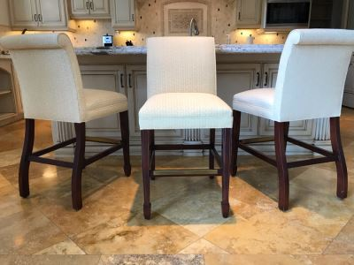 Set Of (3) Upholstered Barstools By Hancock & Moore Fine Furniture 19W X 23D X 39H Seat Is 25H Retails $3,000